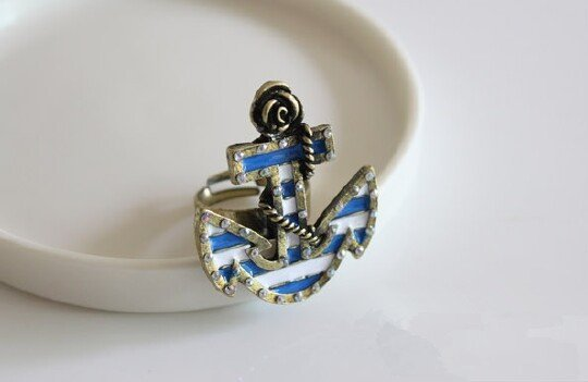 Free shipping!Naval style,Vintage Blue and white stripes Anchor Ring(35*30mm)!Wholesale Jewelry,Fashion rings 20pcs/lot. KE1175