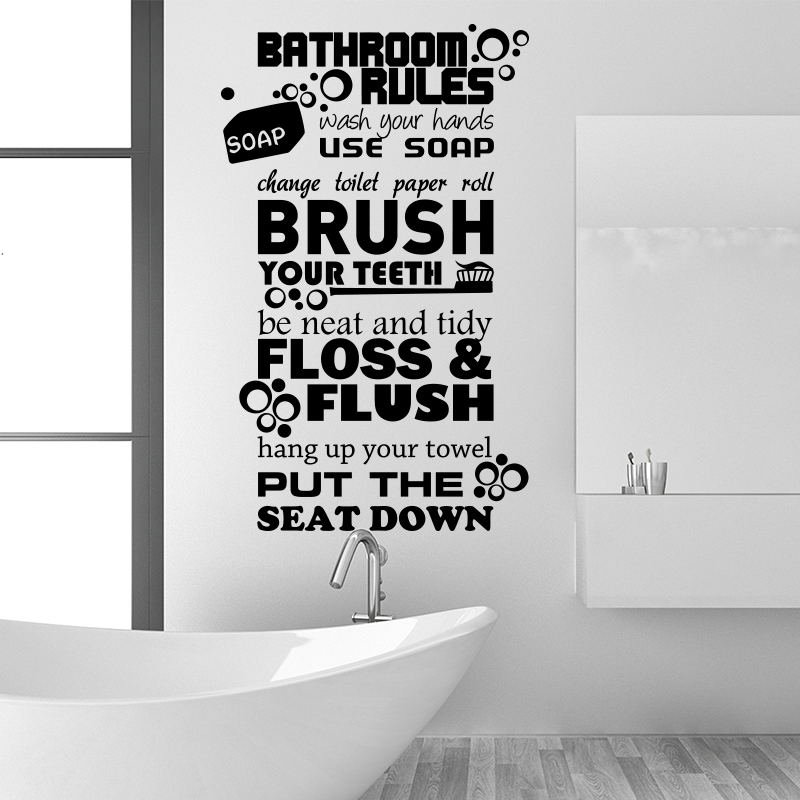 Art design bathroom rules for kids quote wall sticker home decor vinyl toilte wc rules wall decals family quotes for bathroom in wall stickers from home