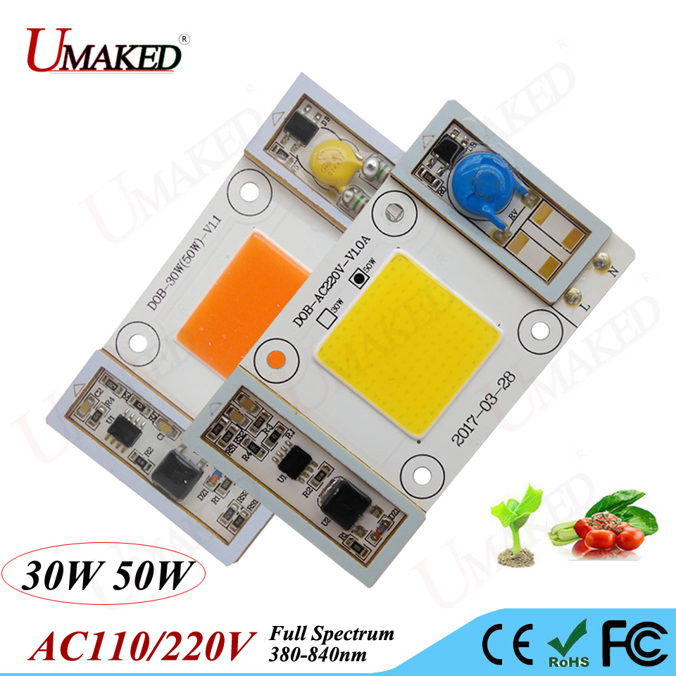 5pcs High Power LED chips Grow Light bead Full Spectrum 380-840nm AC85-265V No need driver for hydroponics,indoor plants Growing