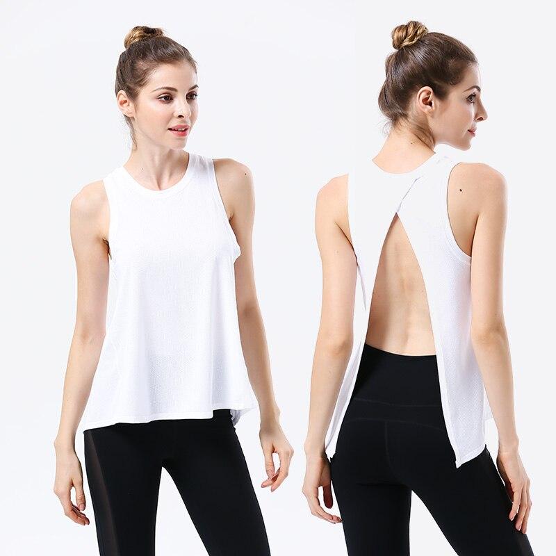 White Sexy Backless Women Yoga Top Sport Shirt Women Gym