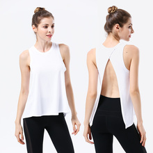 White Sexy Backless Women Yoga Top Sport Shirt Gym Sleeveless Running T Workout TShirt