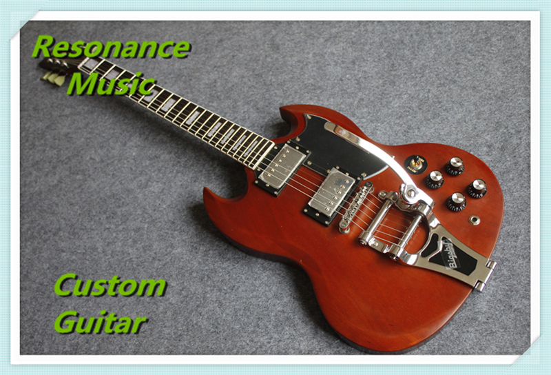 Hot Selling Cheap Price SG Standard Electric Guitar Bigpsy Tremolo Stain Finish Chinese Guitars In Stock For Sale hot selling matte tiger flame finish lp standard electric guitars with solid mahogany guitar body in stock