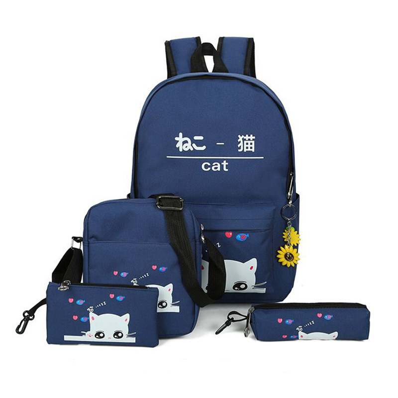 summer 4Pcs set women backpack Korean rucksack cat schoolbag canvas backpacks for girls student bag set