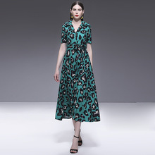 OKOUFEN Summer Womens Dresses New Korean French Classic Printed Short Sleeves Crowd Knee ZX0050