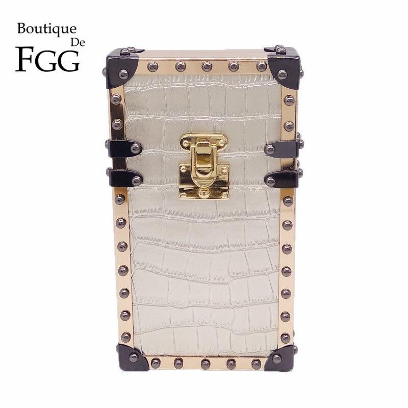Caja del teléfono de Plata de Cocodrilo PU Caja de Metal Del bolso de Tarde Bols