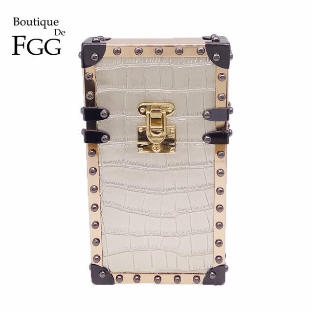 Phone Case Silver Alligator PU Metal Evening Purse Crossbody Bags For Women Day Clutches Box Clutch Bag Chain Shoulder Handbags
