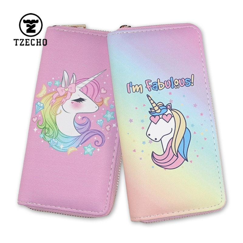 TZECHO Women's Wallets PU Leather Prints Animal Cartoon Unicorn Ladies Clutch Zipper Coins Purses Long Rfid Credit Card for Gift tzecho women wallets long zipper wallet for women with phone pu walet skull head ladies clutch purses rfid credit cards holder
