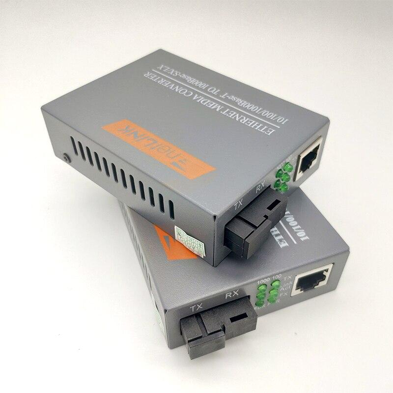 1 Pair HTB-GS-03 A/B Gigabit Fiber Optical Media Converter 1000Mbps Single Mode Single SC Port 20KM External Power Supply
