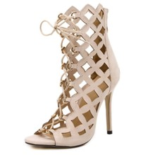 High Top Ankle Boots Summer Sandals Women Peep Open Toe Corss Tied Strappy Zipper Caged Cut Out Gladiator Sandals High Heel Shoe