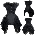 Black Overbust Waist Trainer Corsets Plus Size Corset Dress Steampunk Gothic Clothing Sexy Burlesque Costumes For Women