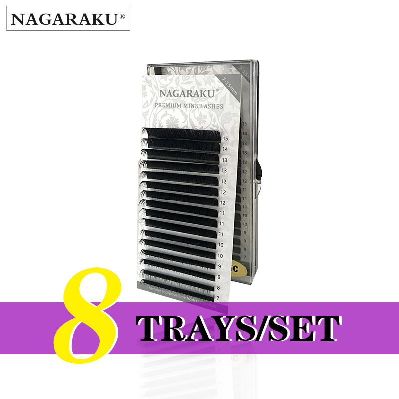 NAGARAKU  8 Trays/set  J B C D Curl  Length 7-15mm Mixed In One Tray Eyelash Extensions Individual Faux Mink Eyelash Lashes