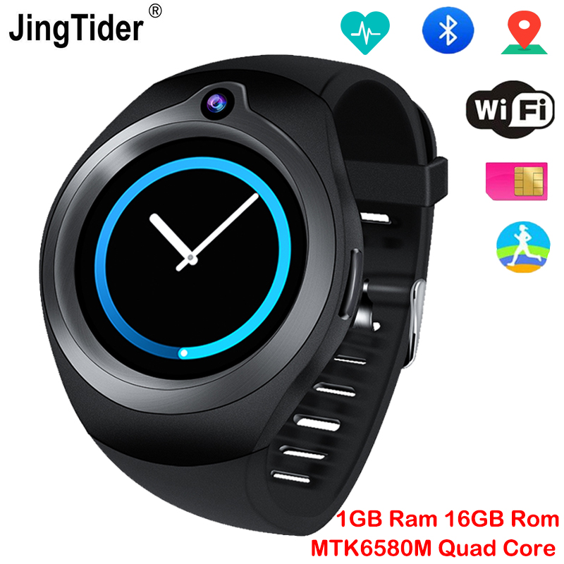 JingTider S216 Android Smart Watch MTK6580M Quad Core 1GB/16GB GPS Bluetooth Smartwatch Heart Rate Monitor 1.3 3G Sim Card Wifi цена