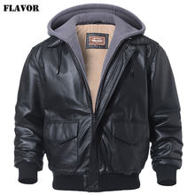 FLAVOR Men's Real Leather Jacket Bomber Air Force Lambskin Genuine Leather Winter Warm Filling Cotton Aviator Coat(China)