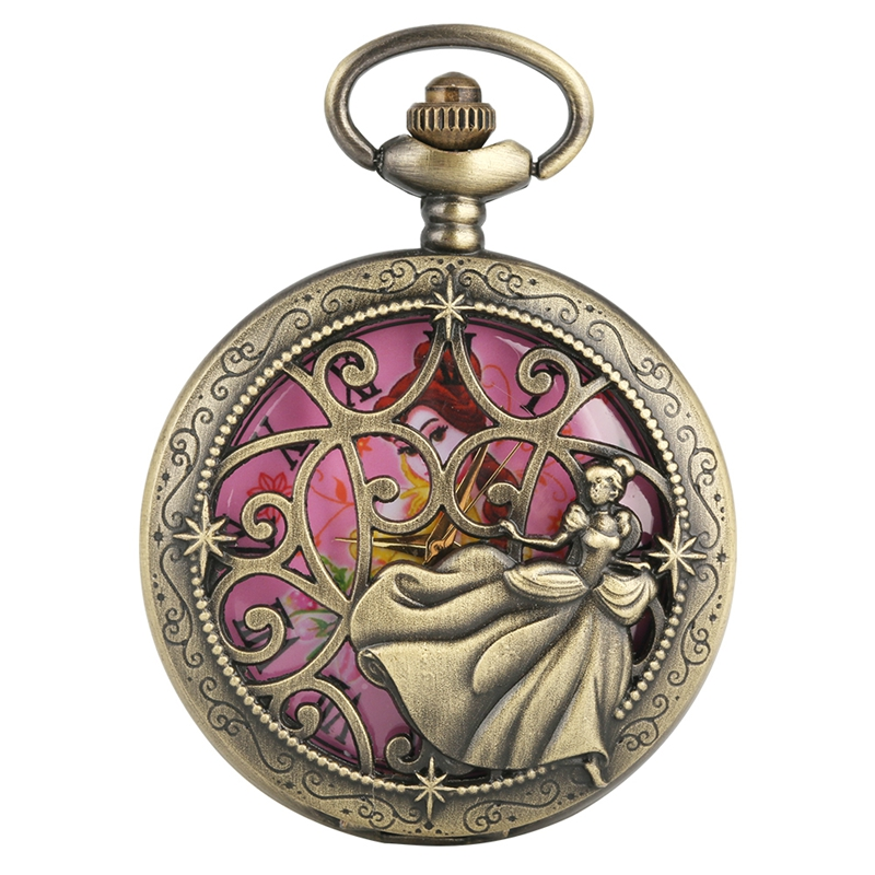 Retro Elegant Lady In Dress Quartz Pocket Watch Necklace Pendant Chain Jewelry Collectibles FOB Watch Gift For Pretty Women Girl