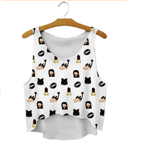 Free Shipping Before The New Summer 2015 Ladies Fashion Design Cartoon Short After Long Vest Leisure