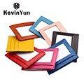 Kevin yun designer de marca genuína de couro fino caso do cartão de id titular do cartão de crédito de couro das mulheres do desenhador de moda carteira pequena