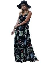 LOHILL 2017 Womens Sleeveless Boho Print Long Dresses Ladies Cocktail Party Summer Beach Dress