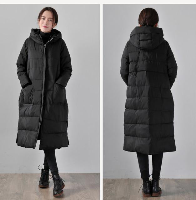 358728dc3f Black Women Winter Long Down Jacket Hooded Duck Down jacket Winter Down Coat  Loose Style Thick Winter Jacket