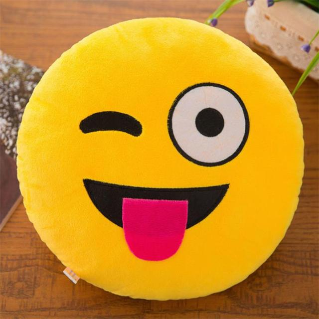 New Smiley Face QQ Emoji Pillows Soft Plush Emoticon Round Cushion Home Decor Cute Cartoon Toy Doll Decorative Throw Pillows 4
