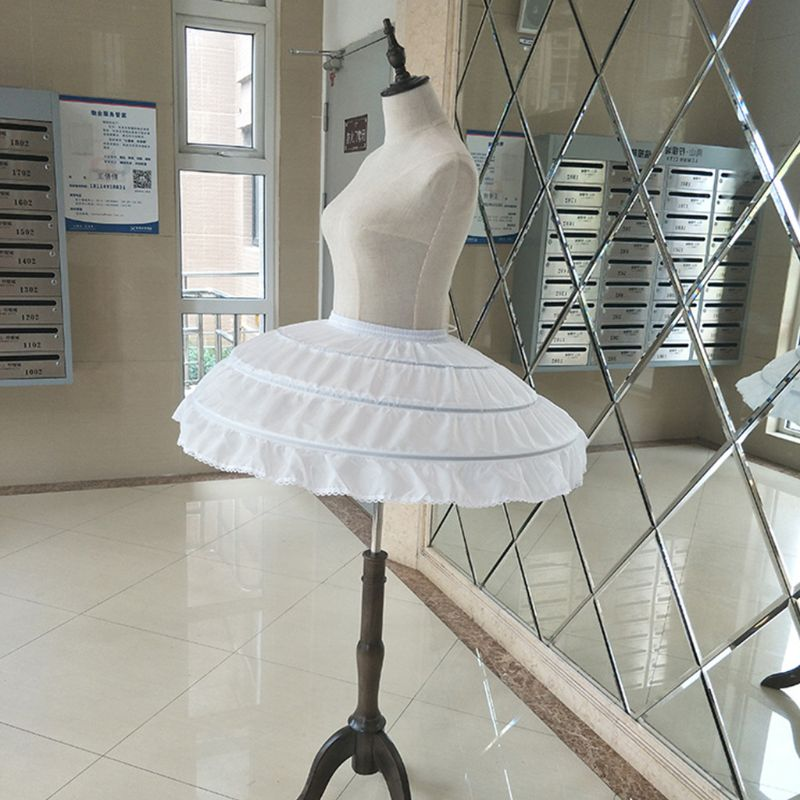 Children 3 Steel Hoops White Petticoat Wedding Gown Dress Underskirt Elastic Waistband Drawstring A-Line Skirt Ruffles Edge