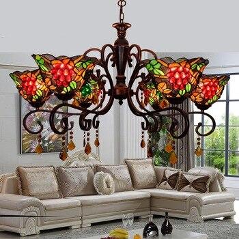 Europäische retro Pastoralen trauben lampe wohnzimmer schlafzimmer esszimmer kronleuchter Tiffany 8 köpfe kristall lichter e27