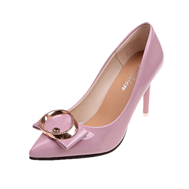 2018 autumn Korean high-heeled women's shoes buckle stiletto large size low to help shallow mouth pointed shoes violet 1024