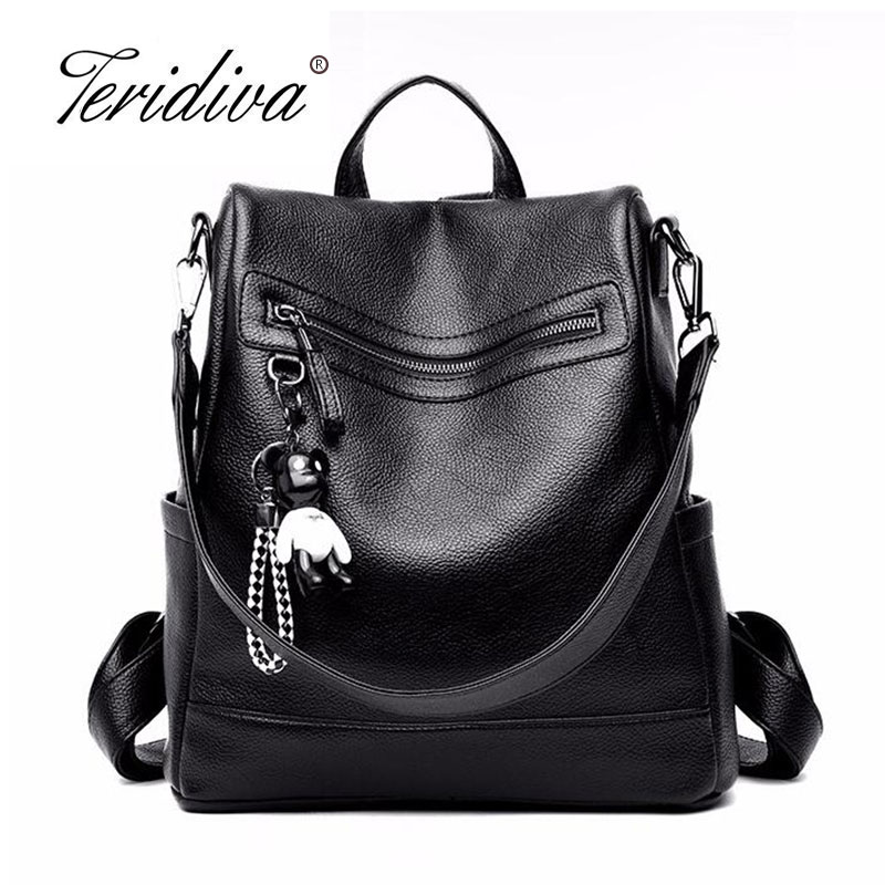 2018 Korean Style Women Backpack Top Quality Leather Double Shoulder Bag School Bag for Teenage Girl Female Casual Black Bagpack