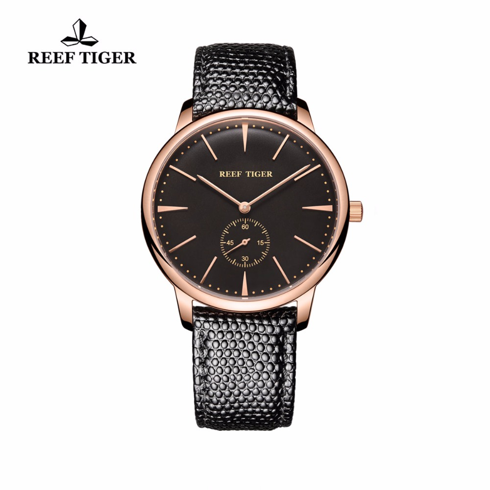 Reef Tiger/RT Couple Watches Casual Vintage Quartz Watches for Men Rose Gold Ultra Thin Watch with Leather Strap RGA820