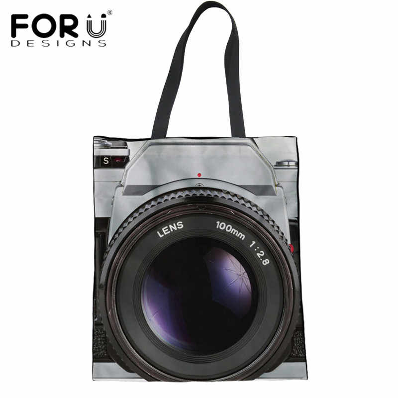 FORUDESIGNS Vintage Camera 3D Printing Women Summer Beach Bags Ladies Large  Linen Tote Bags Recycling Bags 3d5289f95127f