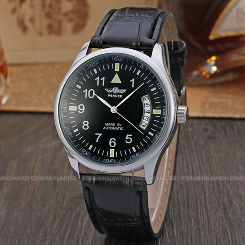 TOP Brand WINNER 2016 hot sale fashion mechanical hand wind men watches luxury bussiness leather strap male Wrist Watch relogio