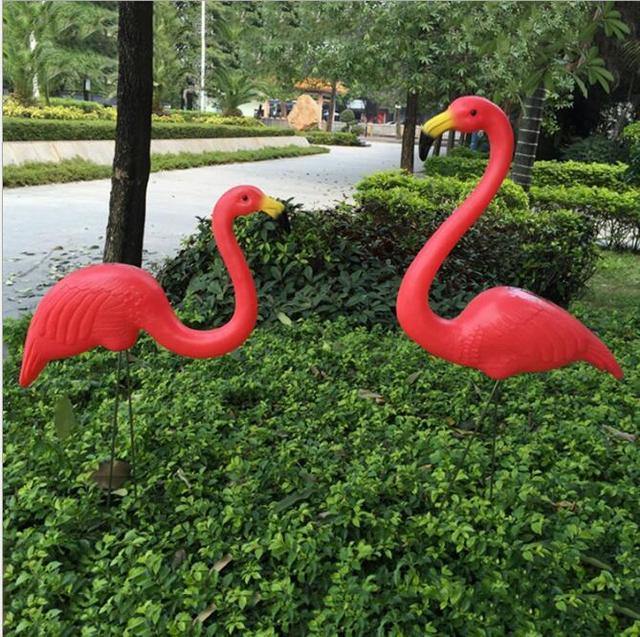 2Pcs Flamingo Ornament Home Garden Lawn Decoration Christmas theme party Decor Balcony Decor Creative Wedding Decorations 05361