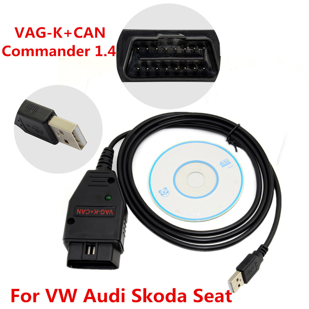 VAG-K+CAN Commander 1.4 OBD 2 Diagnostic Scanner Tool Cable For VW Skoda Seat