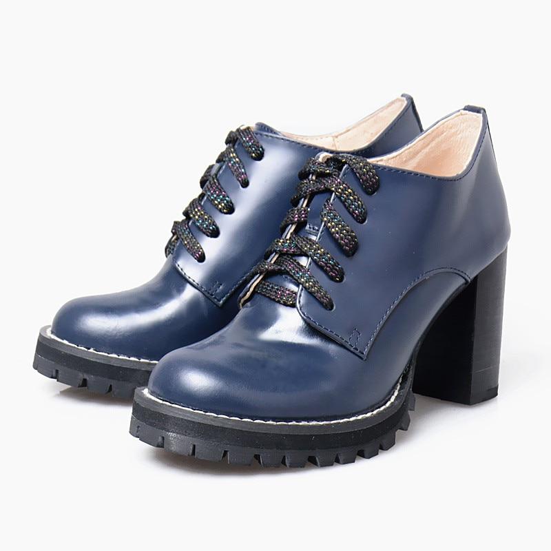 Prova Mujer Hauts forme Bleu Pour De Plate Bottes Lacent Pompes Femmes En Cuir Botas Bleu Chunky Boot Véritable rouge Talons Cheville Perfetto cjALq34R5