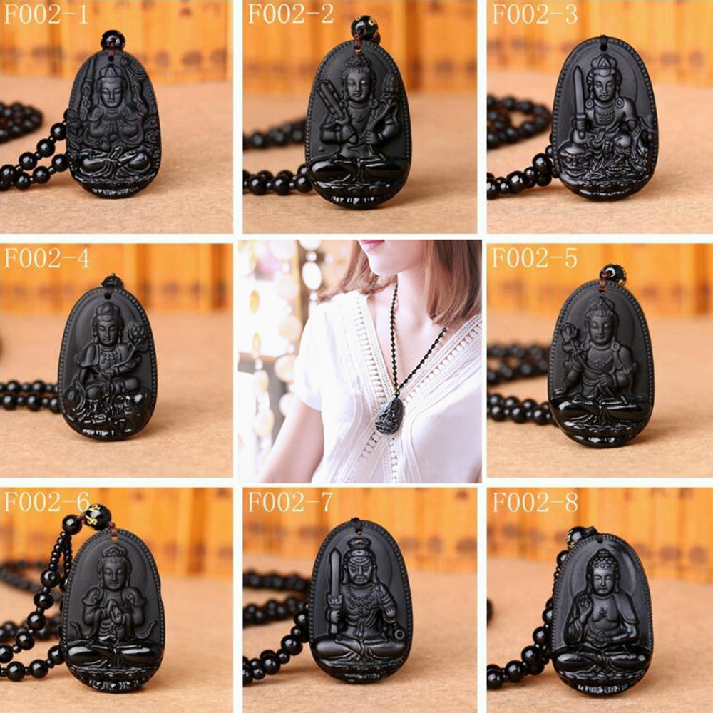 Natural Crystal Chinese Handmade Natural Black Obsidian Reiki Carved Buddha Lucky Amulet Lucky Pendant Necklace Fashion Jewelry