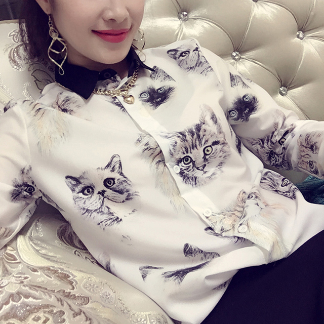 Fashion Shirt Women Cat Printed Chiffon BlouseTurn-down Collar Women's Long-sleeve Shirt Shirts Blouse For Women