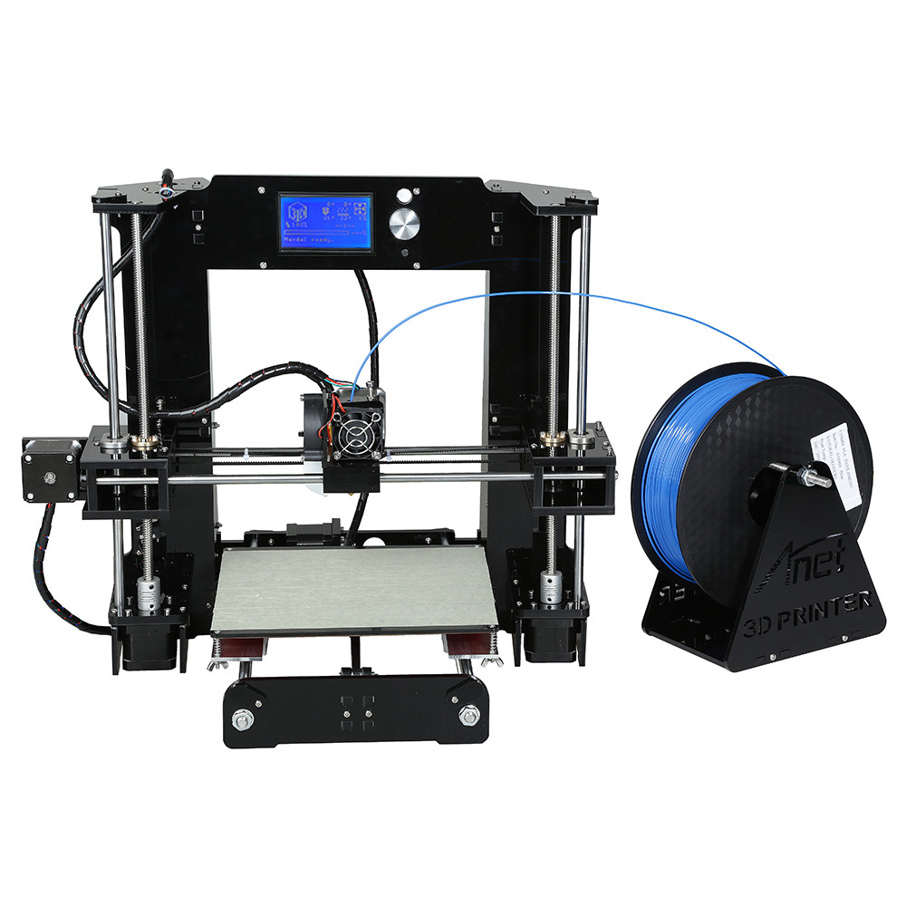 A6 large printing size DIY desktop 3D printer 220*220*250 mm printing size  multi-type filament with heated bed lcd display 3d printing machinemetal frame i3 3d printer kit with heated bed options two roll filament sd card
