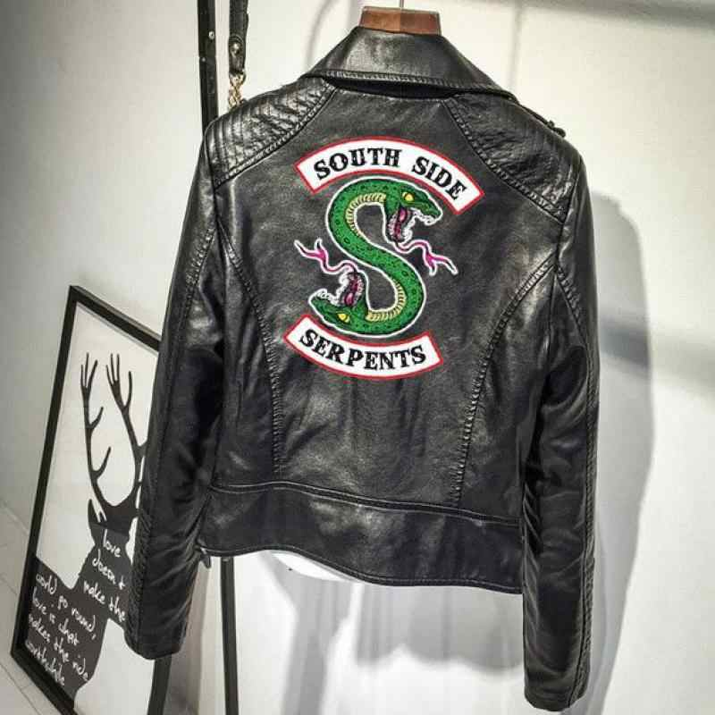 Coats And Jackets Women Snake Pink/black Pu Leather Jacket Women's Riverdale Snake Street Leather  Crop Denim Jacket