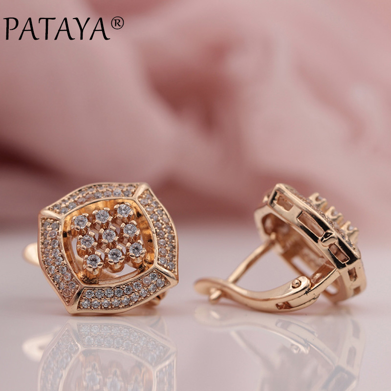 PATAYA New 585 Rose Gold Micro-wax Inlay Natural Zircon Square Big Dangle Earrings Women Wedding Party Extreme Luxury Jewelry все цены