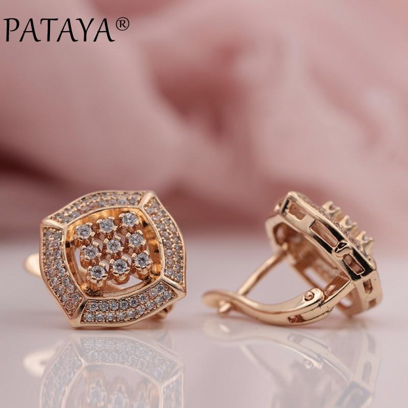PATAYA Nouveau 585 Rose Or Micro-cire Incrustation Naturel Zircon Carré Grand Balancent Boucles D'oreilles Femmes De Noce Extrême De Luxe bijoux
