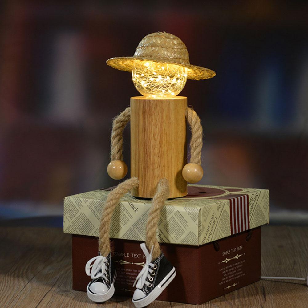 decoracao criativa luz da noite led pessoas de madeira lampada de mesa led usb power para