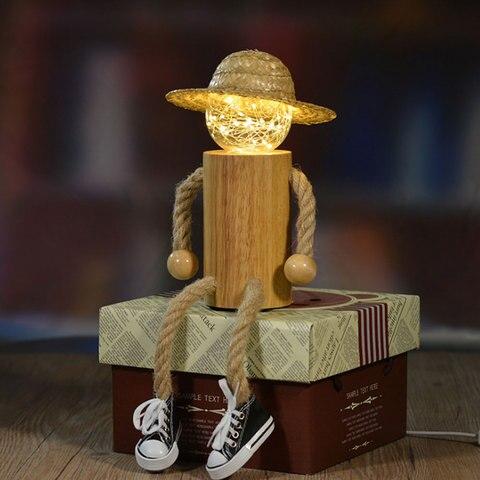 decoracao criativa luz da noite led pessoas de madeira lampada de mesa led usb power