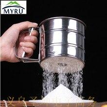 Manual de acero Inoxidable taza de harina tamiz de harina tamiz de harina para hornear utensilios