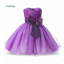 Tonlinker Summer Girl Dress 2018 Princess Flower Bowtknot Birthday Party Dresses