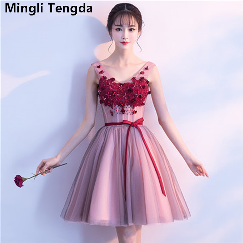 Mingli Tengda New V Neck Lace Flowers   Bridesmaid     Dress   Short Sleeveless Sashes   Bridesmaid   Dresse Elegant Appliques   Dress   2018