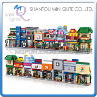 Full Set 8 Pcs Lot Mini Qute LOZ World Architecture Restaurant Sweet Shop Diamond Plastic Building
