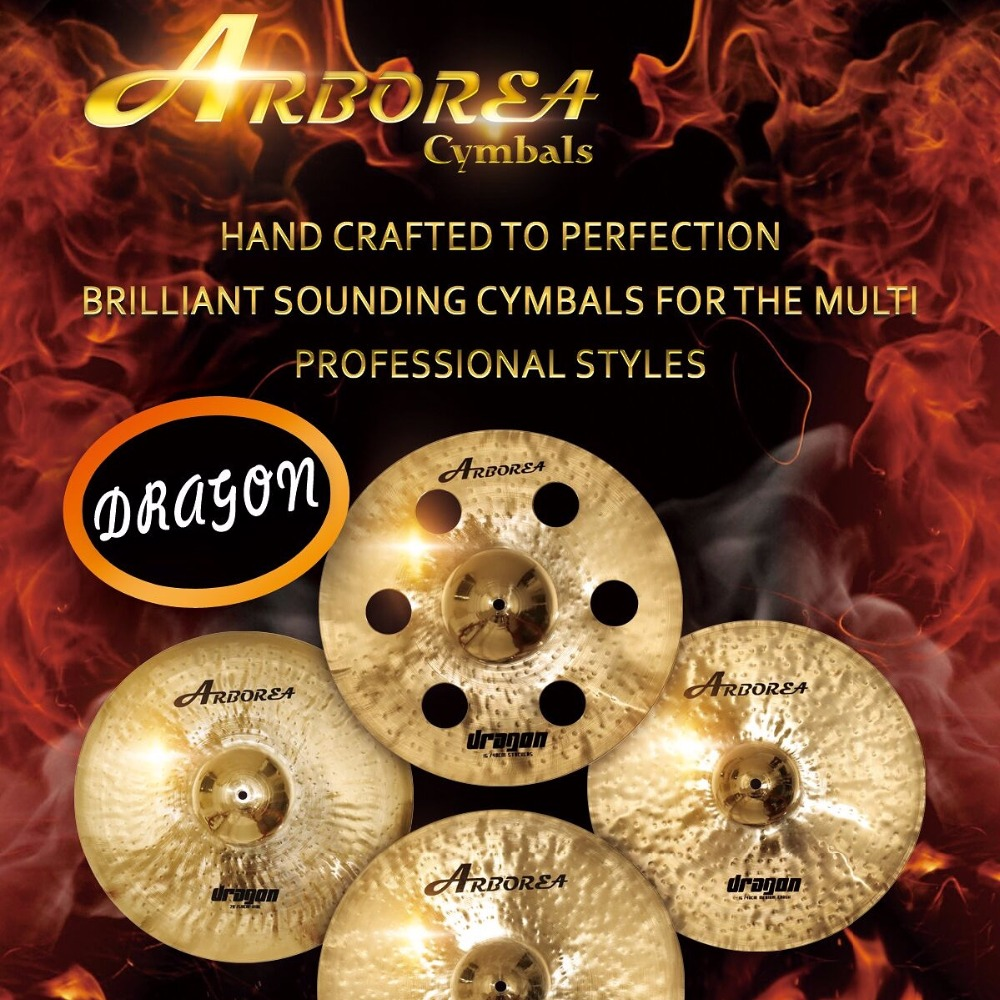 High recommend ARBOREA Dragon series cymbal set: 14 hihat+16crash+20ride+cymbal bag most popular arborea low volume cymbal silence cymbal set with bag