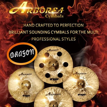 High recommend ARBOREA Dragon series cymbal set: 14 hihat+16 crash+20 ride+cymbal bag  - buy with discount