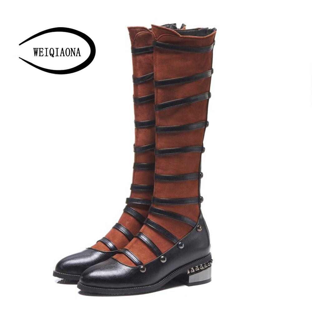 Moda Tacco Delle Stivali A Scarpe 2019 Donne Disegno Di Weiqiaona Modo  Nuovo Basso Cerniera Marca Punta Con brown Inverno ... 71ab97082b1