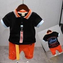 boys clothing sets summer gentleman suits short sleeve T-shirt + shorts 2pcs kids