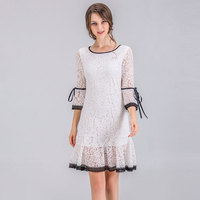 2018 Spring Summer Plus Size M 4XL Lace Dress White And Black Patchwork Classic Women Grace